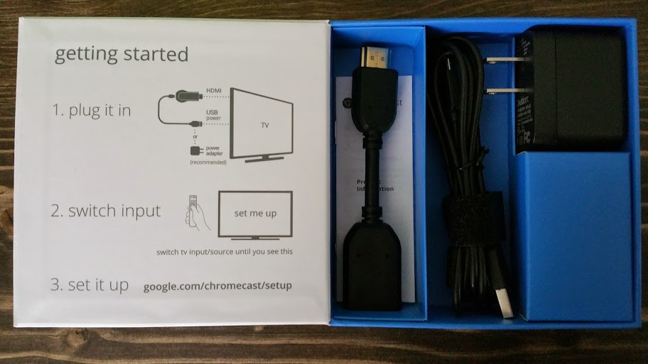 Chromecast Setup Box Contents