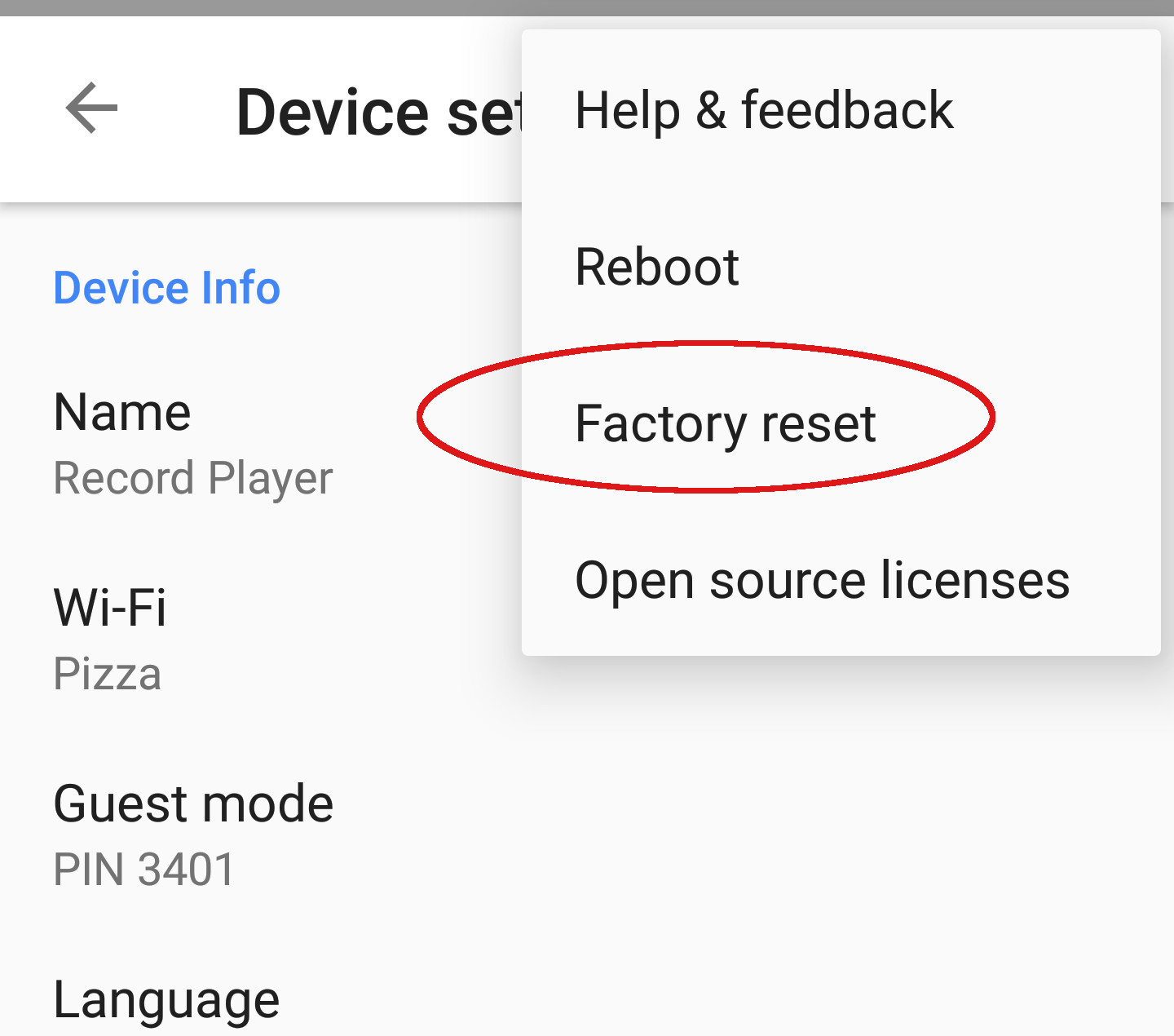 Google Home Factory Reset